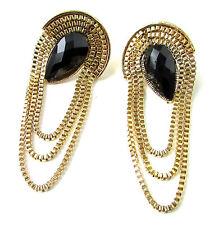 Black & Gold Tassel Chain Art Deco Style Earrings 1920s Vintage Drop Stud 4AF