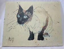 Vintage Mid Century Fritz Rudolph Hug Siamese Cat Canvas Print Painting