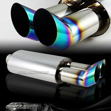 "3"" DTM Dual Rainbow Burnt Tip Stainless 2.5"" Inlet Exhaust Muffler Universal 1"