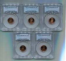 FIVE PCGS 1992-96 LINCOLN CENTS PR69RD DCAM  (T118)  GORGEOUS PROOF COINS