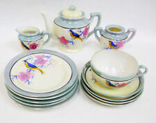Vintage Hand Painted 2-tone Lusterware Childs Toy Floral Dishes Tea Set 14 pcs