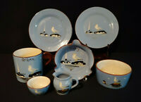 7 Pieces Blue Babbacombe Torquay Redware Pottery With Seagull Devon England