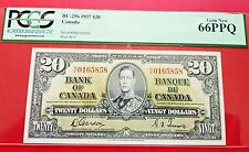 1937 Canadian Twenty Dollar Bill PCGS 66PPQ GEM NEW BC-25b & 25c H|E Prefix $20