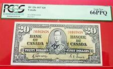 1937 Canadian Twenty Dollar Bill PCGS 66PPQ GEM NEW BC-25b H|E Prefix $20