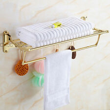 Luxury Gold Bathroom Folding Towel Rack Holder Shower Clothes Shelf Double Shelf