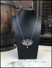 Vintage Czech Art Nouveau Style Baroque Sterling Silver Enamel Pearl Necklace