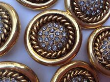 MAXI bottone gioiello ORO STRASS SWAROVSKY  ANNI 70 vintage BOUTON COUTURE