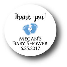 30 Baby Boy Shower Personalized Stickers - Thank you! blue baby feet & heart