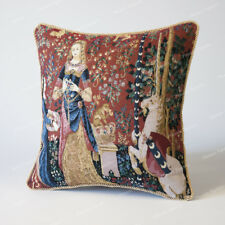 "Jacquard Weave Tapestry Pillow Cushion Cover Lady & Unicorn - Smell 18""x18"", AU"