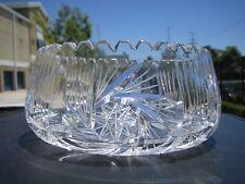 Vintage Large Buzzsaw Cut Crystal Bowl Eastern European