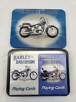 2001 Springer Softail HARLEY DAVIDSON LIMITED EDITION TIN 2 DECKS PLAYING CARDS