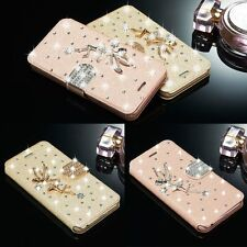 Bling 3D Angel Diamond Leather Magnetic Flip Wallet Case Cover For Apple iPhone
