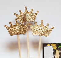 1 Set of 24 Gold Glitter Crown Cupcake Toppers Wedding Picks Party BABY SHOWER
