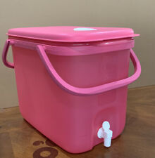 TUPPERWARE PINK JUMBO WATER DISPENSER 10 L/ 42 CUPS WITH HANDLE FOR TO-GO