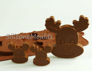 4+1 Reindeer Silicone Mould Christmas Chocolate Candy Cookie Cake Resin Wax Melt