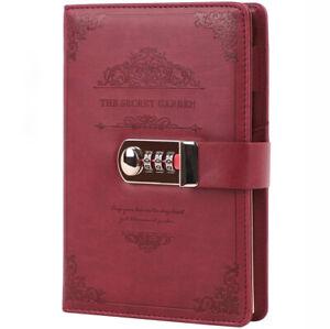 Vintage Notizbuch Tagebuch Lederbuch Reisetagebuch Kladde Heft mit Code Schloss