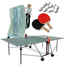 Tischtennisplatte Indoor Sponeta 1-42 i grün im Set Abdeckhülle u Schlägerset