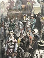 THE CIRCUS COMING INTO TOWN FRENZENY & TAVERNIER 1873 HARPER'S WEEKLY