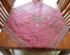 Burgundy Sheer Organza with Silver Thread Beaded Table Topper 39ins (99cm) Sq