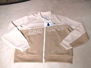 NEW Lacoste Live Neoprene Zippered Tracksuit Jacket MENS L Khaki Tan $165.00