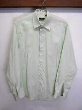vtg Hugo Boss Dress Shirt striped pale green 2 ply cotton sz 16 34/35