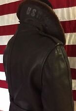 Vintage WWII USN Navy Leather M-69F Aircraft Fur Collar Overcoat Flight Jacket.