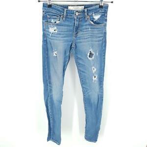 Abercrombie & Fitch Skinny Jeans Womens 2L W26 L33 Distressed Trashed Blue Denim