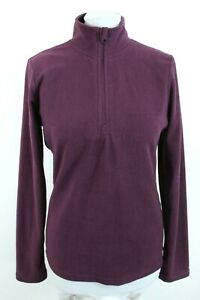 LINE ONE Purple High Neck 1/4 Zip Up Long Sleeve Woman Fleece Jumper Size EU M