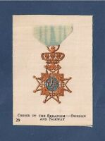 The Swedish Royal ORDER of the SERAPHIM KUNGUGA SERAFIMERORDEN 1915 printed Silk