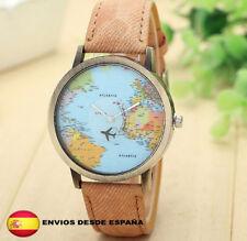 Reloj World Traveler mapa mundial avión retro vintage unisex color CAFE