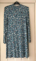 M&S COLLECTION Blue Animal Print Long Sleeve Stretch Jersey Swing Dress UK 8 New
