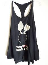 Wildfox  racer back black muscle tank top where is my bunny headband design SZ S