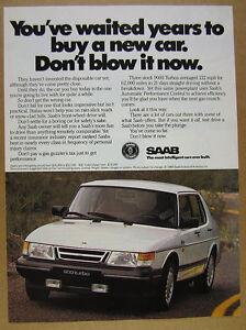 1989 Saab 900 Turbo white car color photo vintage print Ad
