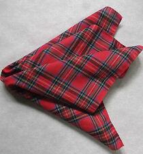 Vintage Handkerchief MENS Hankie Top Pocket Square TARTAN RED COTTON