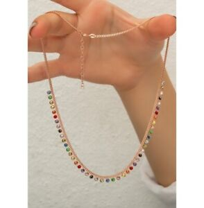 AAA QUALITY STERLING 925 SILVER JEWELRY TOP RICH MULTICOLOR ZIRCON LADY NECKLACE