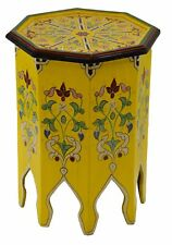 Moroccan Table Wood End Table Coffee Middle East Arabesque Handmade Decor Yellow