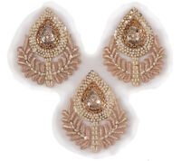 3 Hand Beaded Sewing Appliques Rose Gold Bridal Large Patches Sparkling Bullion