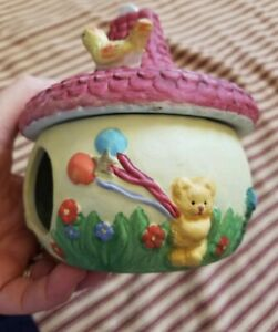 HANGING YELLOW COTTAGE BIRD HOUSE  BEAR RABBIT WHIMSICAL BIRD FEEDER CLAY STONE