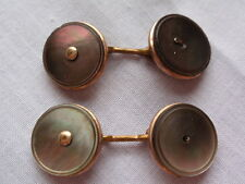 VINTAGE ART DECO ABALONE MOTHER OF PEARL DOUBLE FRONT CHAIN CUFFLINKS