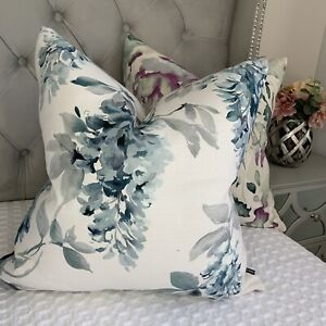 """Absolutely Beautiful Cushion Covers 18"""" Laura Ashley Fabric Floral Blue"""