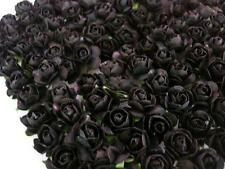 144 Mulberry Paper Rose Flower Bouquet/wire stem/scrapbooking/Gothic H420-Black