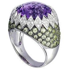 Bold Design Solid 18k Gold Genuine Amethyst & Peridot Diamond Ring Sz7 ONLY