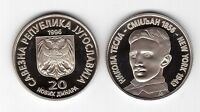 YUGOSLAVIA SERBIA – RARE 20 NEW DINAR PROOF COIN 1996 YEAR KM#169 NICOLA TESLA