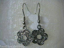 Surgical Steel Earwire Drop Dangly Earrings Silver Tone Rhinestone FLOWER