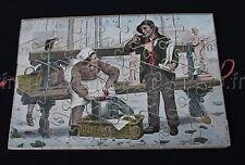 Ancien Jeu 6 puzzle Bois CHROMO ramoneur vendeur ecrevisse chasse cour soldat +