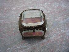 Ancien coffret de mariage/reliquaire/coffre a bijoux verre biseaute