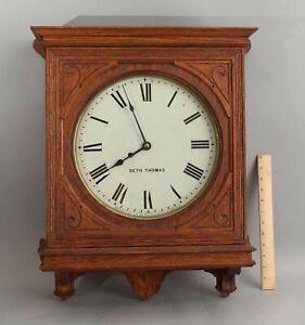 Rare Antique Working Seth Thomas Oak Gallery Galley Lobby Regulator Wall Clock