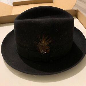 Selentino Rose Fedora Hat Genuine Fur Felt Black Czech Republic (61 - 7 5/8)