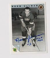 1992 Ultimate Norm Ullman Detroit Red Wings Autographed Card W/Our COA