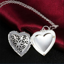 Lady Heart Photo Locket Pendant With Silver Rolo Necklace Chain